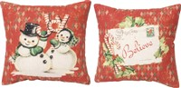 Believe Retro Snowman Pillow