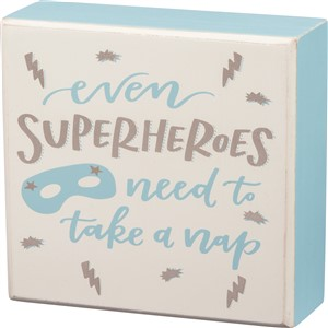 Superheroes Nap Box Sign