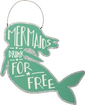 Tin Mermaid Drink Sign