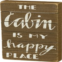 Cabin Happy Slat Sign