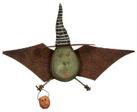 Wooden Witch Bat Plaque