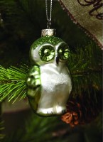 Ragon House Green Mercury Glass Owl Ornament