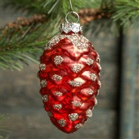 Red Mercury Glass Pine Cone Ornament Set