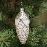 Silver Snow Covered Pine Cone Ornament