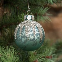 Blue Mercury Glass Ball With Glitter Ornament