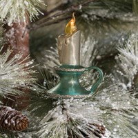 Lighted Blue LED Candle Clip On Ornament