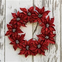 Red Glitter Poinsettia Wreath