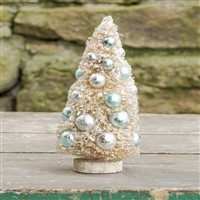 Cream Bottle Brush Tree With Aqua & Silver Balls