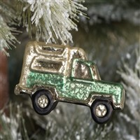 Mercury Glass Green Camper Ornament