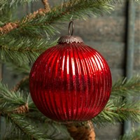 Ragon House Ribbed Red Kugel Ornament 3 inch