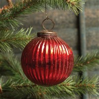 Ragon House Ribbed Red Kugel Ornament 4 inch