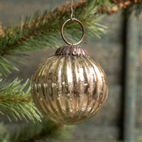 Ragon House Ribbed Silver Kugel Ornament 2 inch