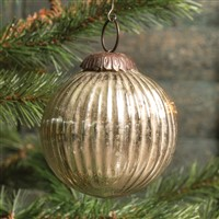 Ragon House Ribbed Silver Kugel Ornament 3 inch