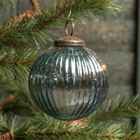 Ragon House Ribbed Blue Kugel Ornament 3 inch