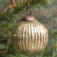 Ragon House Ribbed Silver Kugel Ornament 4 inch