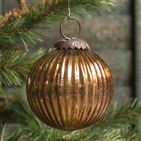Ragon House Ribbed Bronze Kugel Ornament 3 inch