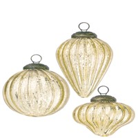Gold Mercury Glass Mini Shapes Ornaments