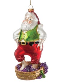 Santa Stomping Grapes Ornament
