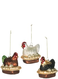 Three French Hens Ornaments