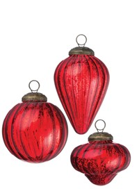 Red Mercury Glass Mini Shapes Ornaments