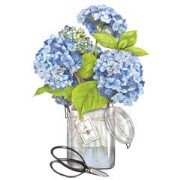 Mary Lake-Thompson Hydrangeas In Jar Linen Guest Towel Set