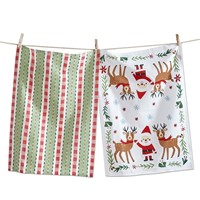 tag Holly Jolly Santa Dishtowel Set