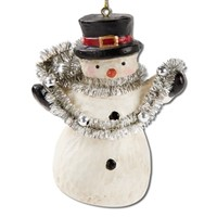 tag Snowman With Garland Ornament